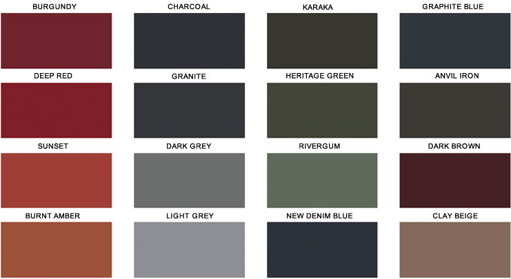 Roofing colours roofcoat colour chart popular roofing colours in roof restoration sc 1 st - Exterior paint colours nz image ...